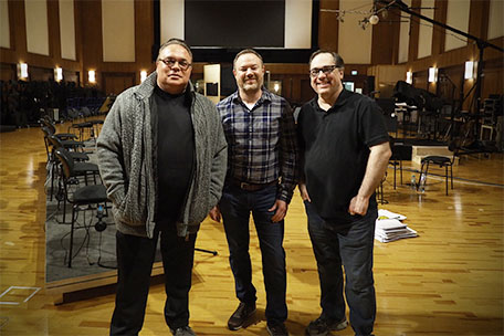 Dimitrie Leivici, Casey Stone, Joe Kraemer on Stage A in front of the recording setup.