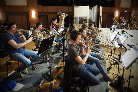 Synchron Stage Orchestra's brass section.