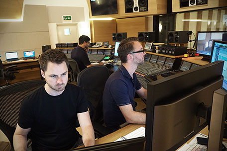Chief Recording Engineer Bernd Mazagg with Protools Operator Martin Weismayr and Tristan Linton.