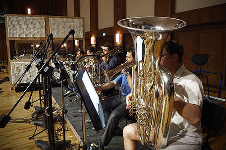 The brass section of the Synchron Stage Orchestra.